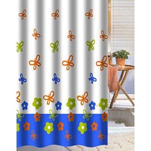 MACOSA SAPA80115 Dusch-Vorhang Schmetterling 180x180 cm Wasserdicht Textil-Duschvorhang Bunt Bad Accessoire Badewannenvorhang waschbar Motiv Butterfly