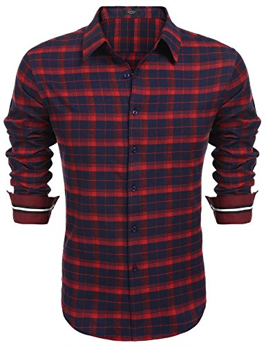 COOFANDY Herren Hemd Slim Fit Kariert Freizeithemd Party Club Manschette mit Stickerei Langarmhemd Business Casual bügelleicht Rot M