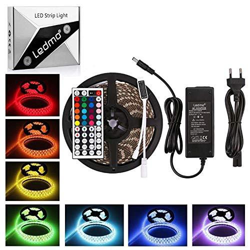 LEDMO  tira led rgb 12V 5M SMD5050 300leds,tiras led IP65 impermeable16 Colores,luces led cinta led Incluido ir remote control controlador 44 y transformador 220v 12v 5A CRI>80