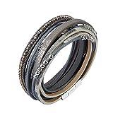 F Fityle Leder Wickelarmbänder Legierung Perlen Teile mit Glanz Strass Armband für Damen - Grau