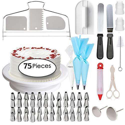 Abimars Dekorationszubehör-Set für Kuchen, Professionelles Backzubehör, Rotierende Tortenplatte, Spritzbeutel- und Tüllen-Set, Paletten und Glättwerkzeuge, 75 Stück