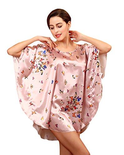 NiSeng Damen Schlafkleid Der Schmetterling Drucken Fledermaus Ärmel Nachtkleidchen Lotus