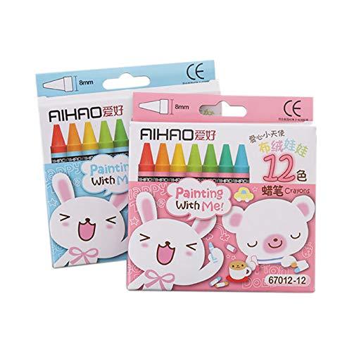 SODIAL Baton de Peinture a lhuile au Crayon Non Toxique pour Dessin Anime creatif 12 Couleurs Crayons Pastel de Dessins pour des Enfants (Couleur de lemballage aleatoire)