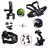 XCSOURCE ® Set Kit Satz 8 in 1 Lenkerhalter Saugnapf+ Brustgurt Kopfband+ 2x Joint+ 2x Schrauben für GoPro Hero 1 2 3 3+ 4 SJ4000 SJ5000 OS57