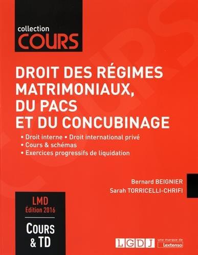 Droit des rgimes matrimoniaux, du Pacs et du concubinage : Droit interne, Droit international priv, Cours & schmas, Exercices progressifs de liquidation