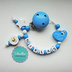 Schnullerkette mit Namen Herz Kleines Wunder der Welt Gravur Geschenk Taufe Geburt Silikonring (Adapter) individuell Stern   Junge blau Namenskette