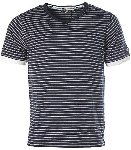 Kitaro Herren Kurzarm Shirt T-Shirt V-Ausschnitt Streifen Grand Bahama Navy