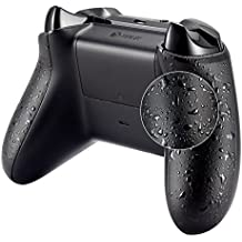 eXtremeRate Funda Carcasa Cubierta Shell Panel Izquierdo Derecho Rieles Laterales Aparejo HT 3D Salpicaduras de Textured Antideslizante para Mando inalambrico Xbox One S Xbox One X (Negro)