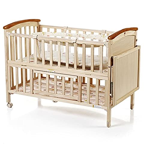TYJ Cots Crib Multifunction Children's Bed Solid Wood Environmental Protection Simple Fashion Tasteless No Paint Safety Baby Bed With Roller Foldable