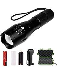 Vanzon Torche Lampe de Poche LED Zoomable et Rechargeable avec 5 Modes, Ultra Puissante 900LM Camping Militaire Lampe étanche,Antichoc,Anti-dérapant(Pile rechargeable incluse)