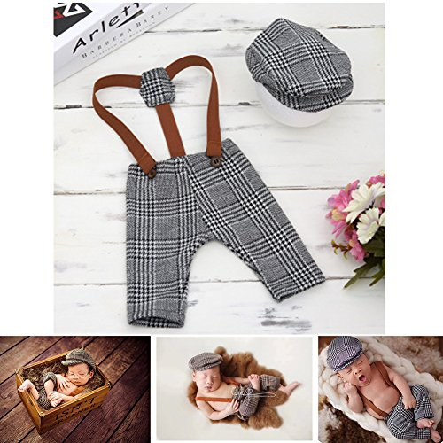 Newborn Photography Props Baby Boy Girl Photo Crochet Knitted Costume Outfits Cute Gentleman Set