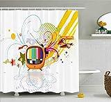 Abakuhaus Modern Duschvorhang, Digital Media TV Art, Digital auf Stoff Bedruckt inkl.12 Haken Farbfest Wasser Bakterie Resistent, 175 x 240 cm, Multicolor
