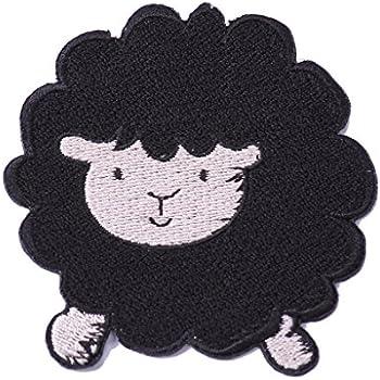 ecusson thermocollant patch thermocollant enfant bebe animaux applique pour vetement vetements mouton noir 8 cm