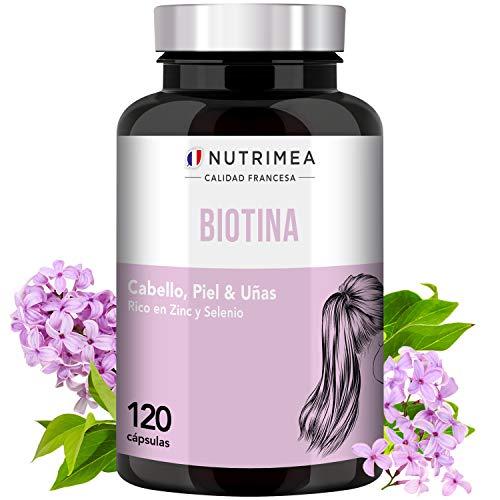 Biotina Zinc Selenio Vitamina B Crecimiento y Fortalecimiento del Cabello Barba Uñas Piel Biotin Natural Complemento Alimenticio Vegano Perdida de Cabello Anticaida Pelo Hombre y Mujer Para 4 Meses