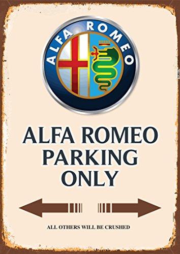 Alfa Romeo Parking only blechschild auto motorrad park schild