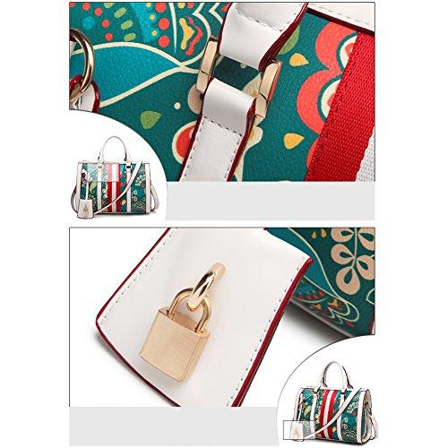 Borsa A Tracolla Multicolore In Rovina Per Donna, Borsa Messenger Bag Donna Nera