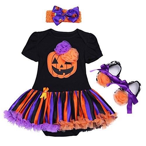 FEESHOW 3tlg. Baby Mädchen Kürbis Halloween Kostüm Outfits Strampler mit Stirnband und Schuhe Kleinkind Kleidung 0-12 Monate Blumen Kürbis 80/9-12 (Baby Tutus Halloween)