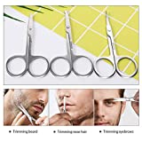 Nose Hair Scissors 3 Pcs Curved and Rounded Eyebrows Facial Hair Scissors