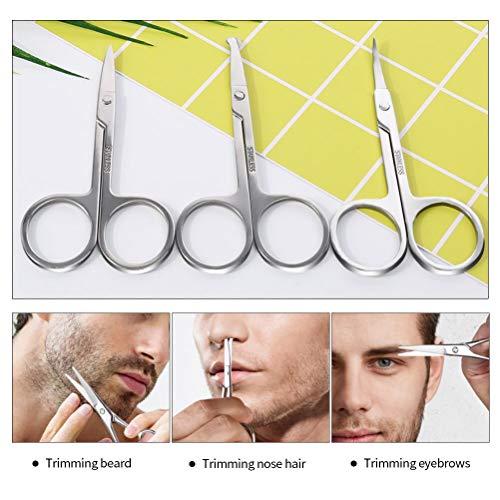 Nasenhaarschere für Männer, gebogene und abgerundete Augenbrauen, 3 Stück