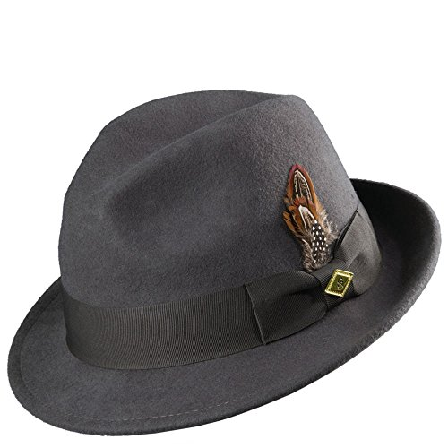 Stacy Adams Men's Fedora With Matching Hat,Grey,L