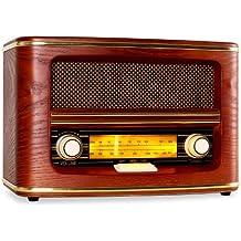 auna Belle Epoque radio vintage (ricezione AM/FM, design nostalgico, sintonizzatore retroilluminato, struttura in legno, antenna, interruttore on/off) - marrone