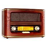 auna Belle Epoque 1905 • Nostalgie Radio • UKW Empfänger • beleuchtete Frequenzband-Skala • Licht-Schalter • Lautstärke- / Frequenzregler • Wurfantenne • abgerundetes Holzgehäuse • Textilstoff-Lautsprecherabdeckung • goldene Dekorleisten • rot