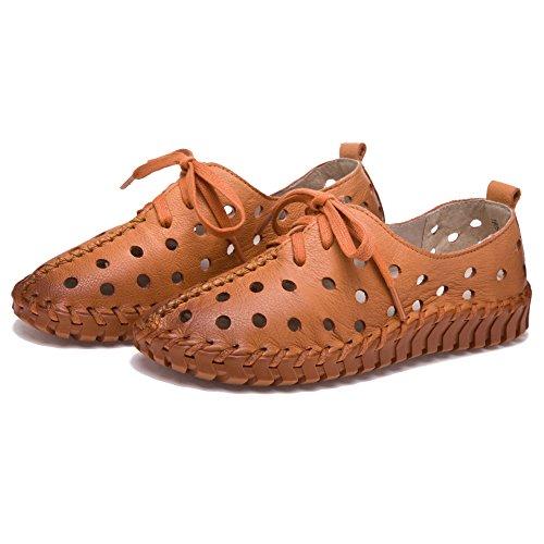 Shenn Donna Cavo Basso tallone ozio Pelle Moda Sneaker abbronzatura