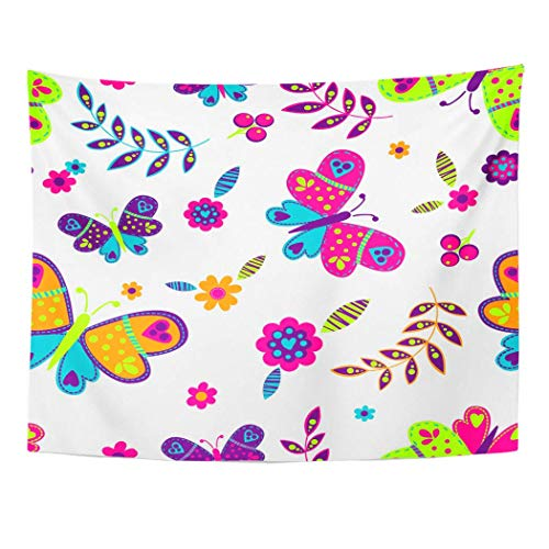 AOCCK Wandteppiche Wall Hanging Blue Abstract Floral Pattern Butterflies Berries Flowers Leaves Nature 60