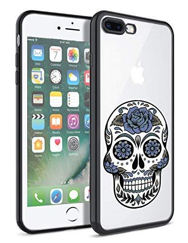 matcase für iPhone 7Plus Schutzhülle iPhone 8Plus Case-Vintage Flower Sugar Skull Hard Transparent Anti Kratzfestigkeit mit vollständiger Schutz TPU Bumper Design-Schutzhülle Vintage Hard Rubber
