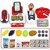YVSoo 24Pcs Supermarkt Spielzeug Supermarktkasse mit Scanner Kinderspiel, Kinderkasse Registrierkasse Kreditkartenleser Spielkasse Kaufladen für Kinder Rollenspiel
