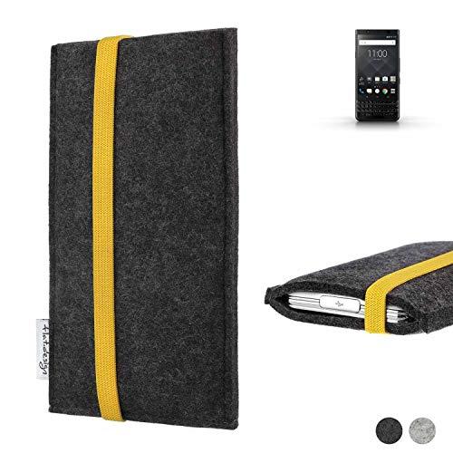 flat.design Handy Hülle Coimbra für BlackBerry KEYone Black Edition passgenau Handytasche Filz Tasche fair schwarz gelb