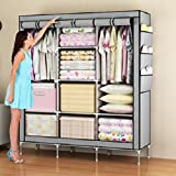 #2: Houzie 66Inch Portable Wardrobe Rack Cabinet Collapsible Clothes Storage Rack Diy - Red/Maroon (Random Colors)