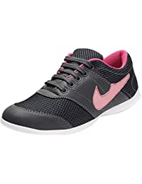 AUTHENTIC VOGUE Women's Multi-Sports Running/Jogging Shoes In Ultra Lightweight Sole With Laces Up- Pink & Black