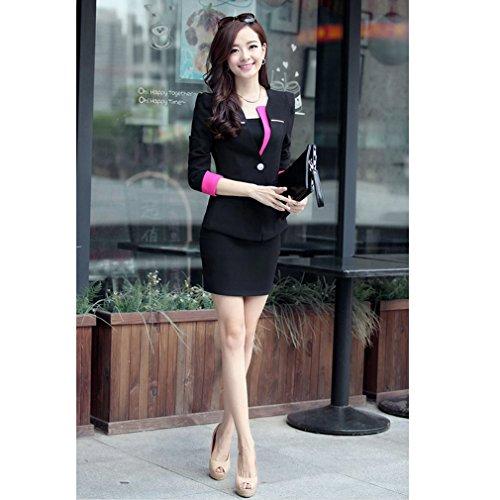 Yinxiang Liying Damen reizvoller dünner Geschäfts Anzug Blazer Röcke Set Schwarz