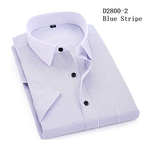 Men Striped Casual Short Sleeves Turn-down Collar Dress Shirt White-Collar Design -