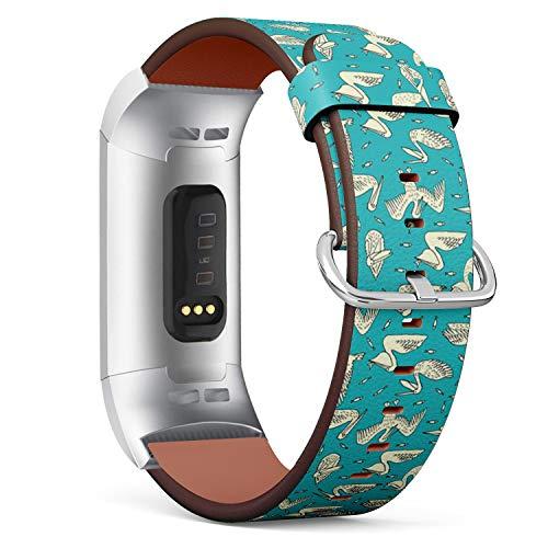 Art-Strap Kompatibel mit für Fitbit Charge 3 / Charge 3 SE - Uhrenarmband Ersatzarmbänder Lederarmband mit Edelstahl-Verschluss und Adapter (Pelikan-Beschaffenheits-Design) Pelikan-adapter