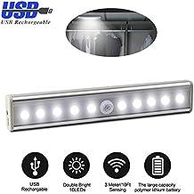 Barra de Luz LED XinXu Sensor de Luz LED de Pared Luces de Noche con PIR Sensor de Movimiento Wireless Lámpara LED Luz: 10 - LED; Barra de Luz con Tira Magnética para Armario Cajón Gabinete Escaleras de Altillo