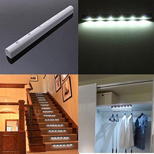 Bluelover PIR wireless Motion Sensor 6 LED batteria alimentato Cabinet leggero HomeStair notte lampada