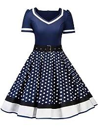 763614d4c51bb Donne Chic Stile Vintage 1950 Vestito da Cocktail Rockabilly Swing Abito  Classico Anni 50