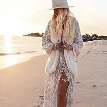 FEITONG Mujer Verano Boho Largo Noche Fiesta Vestido de coctail Vestido de playa Sundress (Caqui, XL)