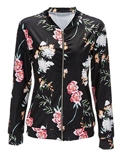 Smile YKK Geblümt/Frühling/Herbst/Long Sleeve Damen Mädchen Outwear Jacke Mantel Sweatjacket Oldschool College Jacke L Schwarz