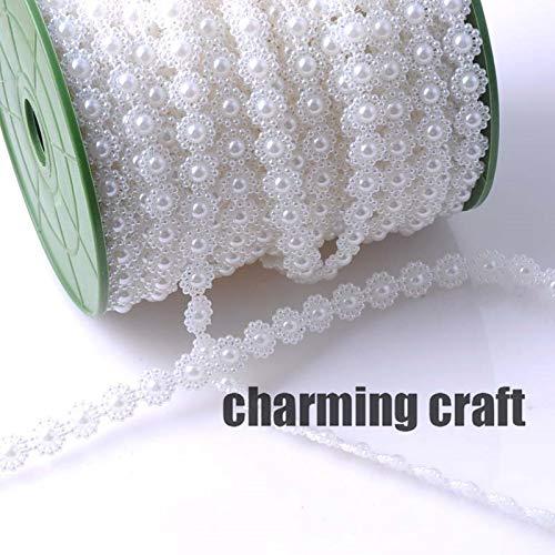Angelschnur Künstliche Perlen weiße Blume 10mm Perlen Kette Garland Blumen DIY Hochzeit Dekoration 4 Meter CP0315