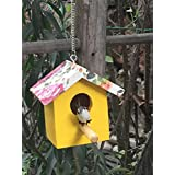Wonderland Hanging 5 inch height small bird house with artificial Bird in Yellow