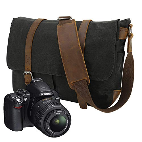 alität--90 Tage Garantie-Vintage Wasserdicht Kameratasche   Fototasche für DSLR SLR-Kamera Laptopfach Kann einen 15-15.6 Zoll Computer tragen ()