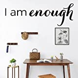 Vinyl Removable Wall Stickers Mural Decal I am Enough Inspirational Motivational for Living Room Family