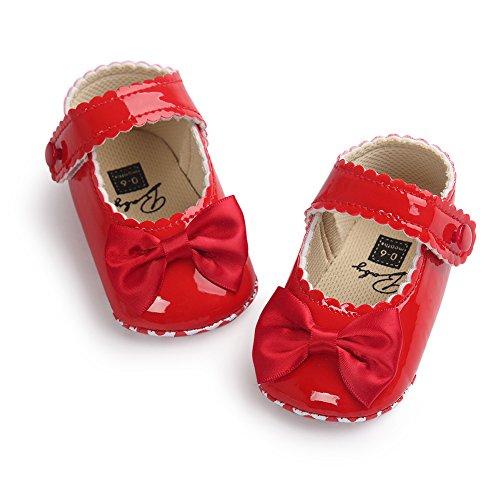 Luerme Baby Mädchen Schuhe Kleinkind Niedlich Bowknot Prinzessin Schuhe Weich Sohle Anti-Rutsch Lauflernschuhe Krippeschuhe (12-18 Monate, (Kleinkind Schuhe Rote)