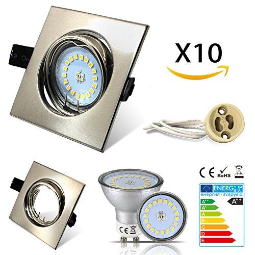 HiBay® Eckig Einbaustrahler Set 10 x Einbauspot GU10 LED 5W 18PCS High Power LEDs SMD Edelstahl gebürstet Schwenkbar Einbaurahmen Naturalweiß Einbauleuchten Strahler,2 Jahre Garantie
