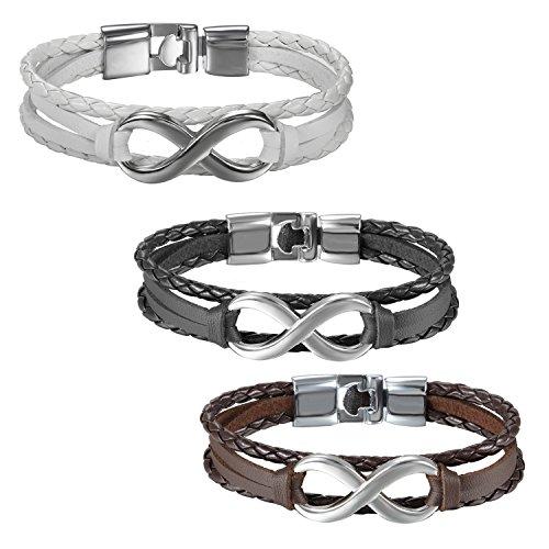 d43270c344d3 JewelryWe Joyería 3 Piezas Pulsera Infinito Infinity Pulseras Para Parejas  Enamorados Hombre Mujer