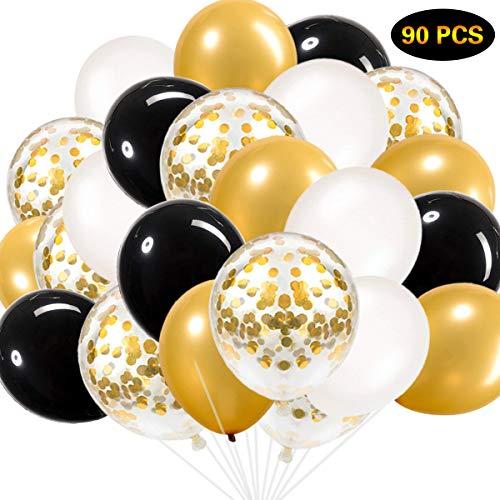Schwarz und Gold Luftballons, Schwarz Gold Weiß Luftballons Insgesamt 90 Stück Latex Party Luftballons für Junggesellinnenabschied Hochzeit Baby Shower Birthday Party Dekoration