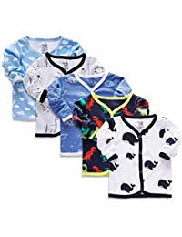 minicult Set of Cotton Unisex Front Open Full Sleeve T-Shirt with snap Buttons(Pack of 5 jhabla)(Assorted Prints & Colors)